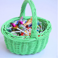 Colored handicraft small wicker gift baskets with handles