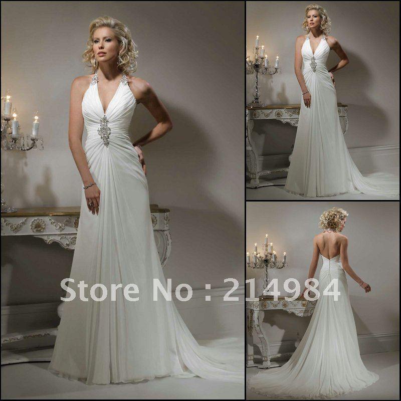 ElegantFree Shipping Sexy Deep V neckline Halter Backless ...Backless Halter Wedding Dresses