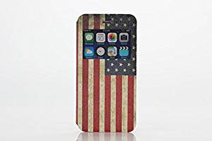 Iphone 6 Case, Rosepark(TM) Iphone 6 4.7 inch Case, View Window Deluxe Vintage American Flag Pattern Ultra Slim PU Leather Folio Case Cover for Apple iphone 6 4.7 Inch