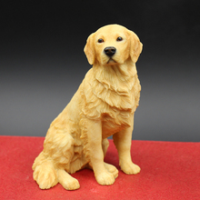 New Sentando estatueta cão Golden Retriever Handmade Resina Artesanato em casa decorativo