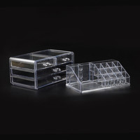 Small size 2 tier acrylic jewelry box plastic drawer storage organizer