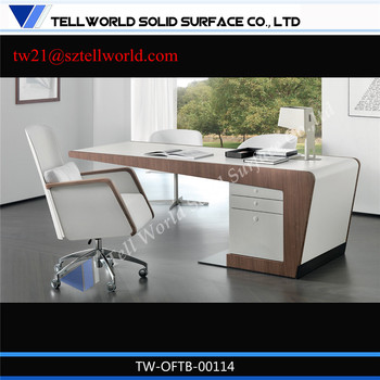 NEW DESIGN CORIAN Laptop Comuter Desks Double Sided Office Desk With Drawers