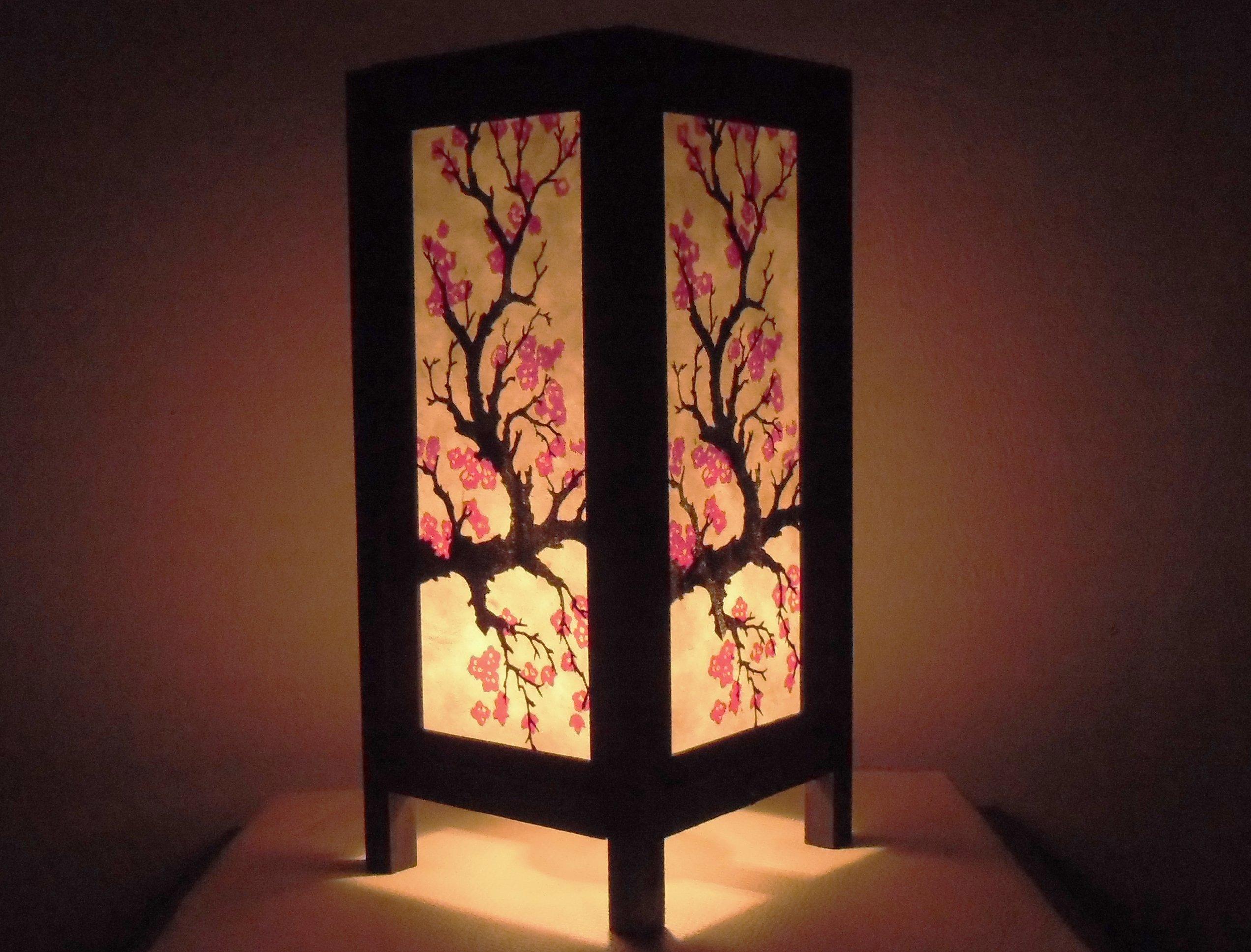 Get Quotations Thai Vintage Handmade Asian Oriental Anese Sakura Flower Bedside Table Light Or Floor Wood Paper Lamp