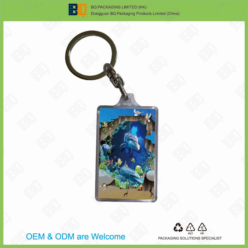 high quality clear PMMA acrylic keychain with 3D lenticular for gift and promotion
