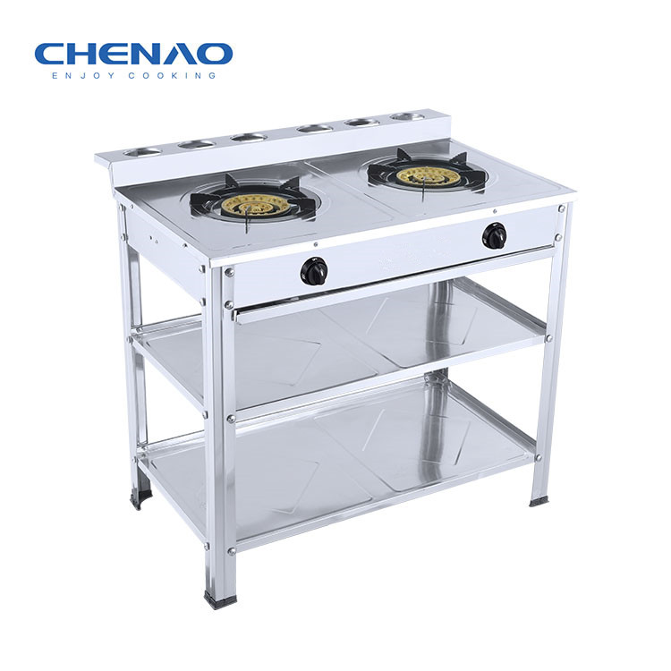 2 Burners Stainless Steel Gas Stove Storage Space Cooktops