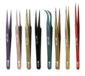 BEST Factory High Quality Color Coated ESD Stainless Steel Anti-magnetic Straight / Curved Eyelash Extension Extension Tweezers
