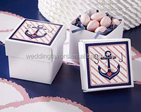 Personalized Square Favor Boxes - Kate's Nautical Bridal Shower Collection