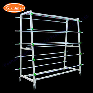 Heavy duty floor metal pipe roll storage fabric roll display stands racks for textile fabric