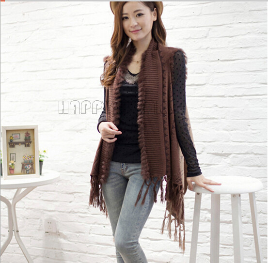 6686bac80fef50 Get Quotations · Fashion Women Sleeveless Knitted Sweater Cardigans Knitwear  Casual Lady Girl Floral Pattern Long Shawl Tassel Cape
