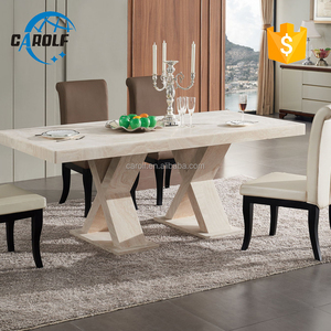 2019 high quality China modern white marble dining table