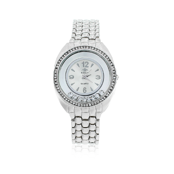 "New Fashion Women's Lady Wrist Watches Round Silver Tone Clear Rhinestone Battery Included 20.5cm(8 1/8"") long, 1 Piece"