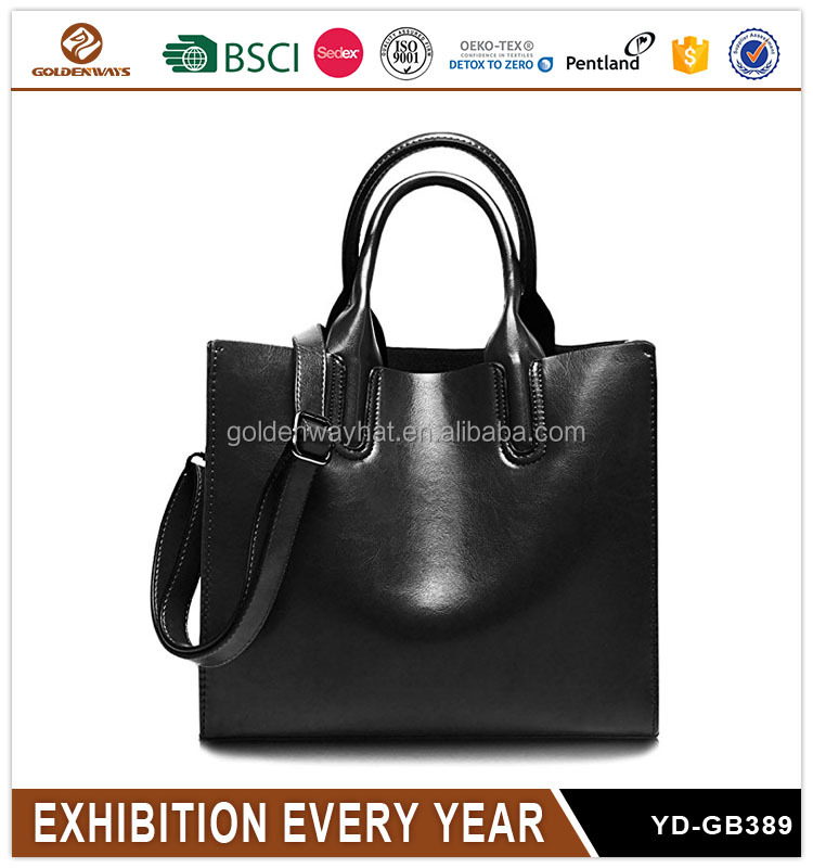 Hot Sell Simple Black Leather Plain Crossbody Bag for Women