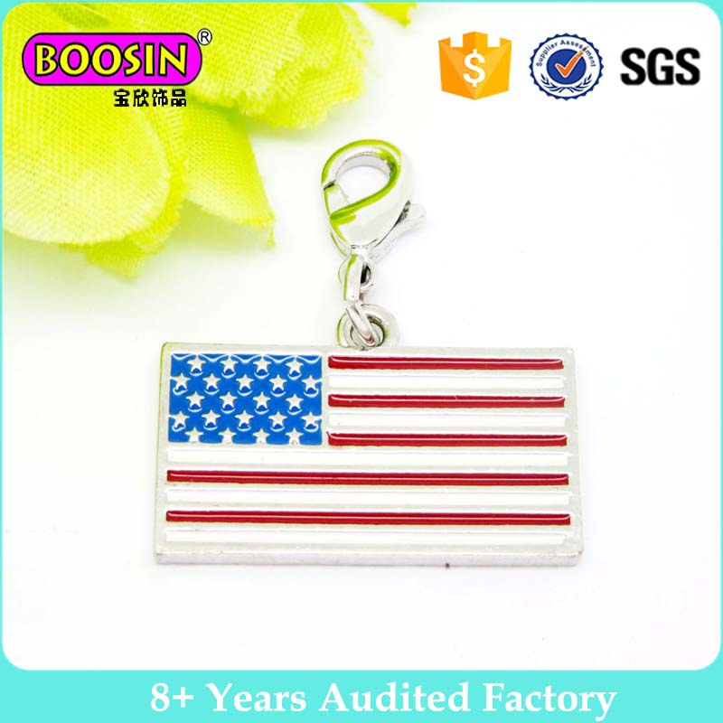 Polished silver country symbol jewelry Enamel USA American flag charm #16859