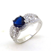 White Gold Plating Copper Colourful Multi Blue AAA Zircon Ring