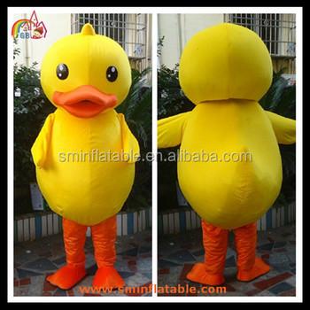 Kuning Bebek Bergerak Iklan Maskot Kostum Bulu Kartun Memakai Gambar