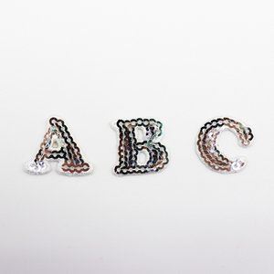 Sequin Embroidered Iron Colors Alphabet 26 letter patches for clothing Badges Number