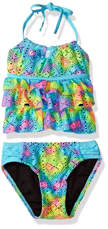 d3bcb327b0b Get Quotations · Breaking Waves Girls' Tie Dye Crochet Tankini Swimsuit