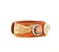 Handcrafted Angel Wings Leather Bracelet/Custom Leather Bracelet/Angel Wings Bracelet/Hand Tooled Leather Cuff