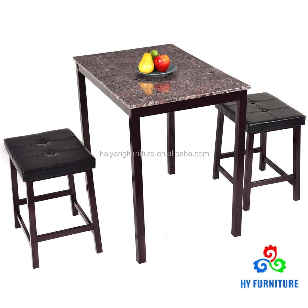 Faux marble wooden dining table set kitchen table set and chairs with metal frame wholesale