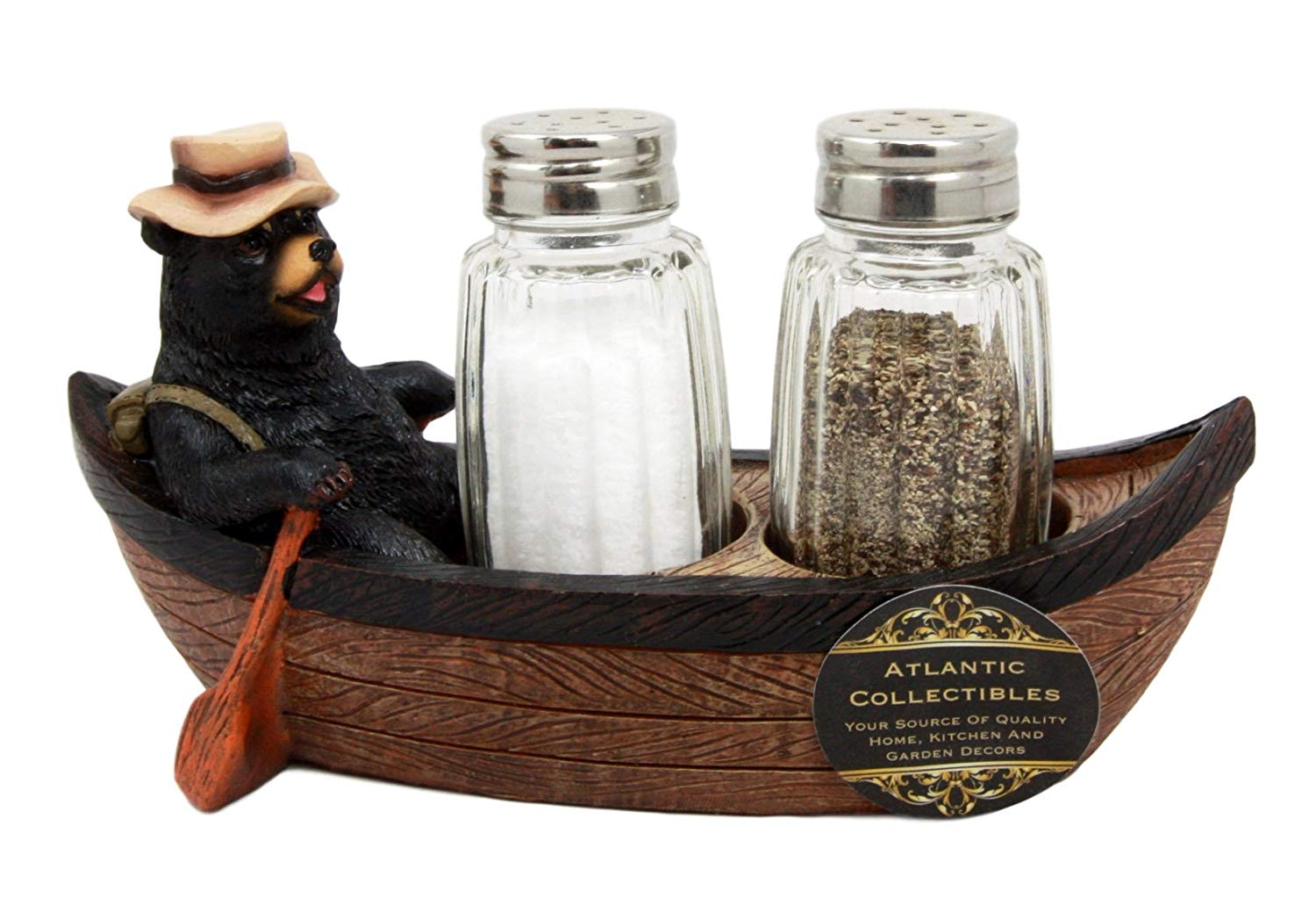 "Atlantic Collectibles Camper Bear Rowing Boat Salt Pepper Shakers Holder Figurine 7""L"
