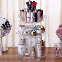 High quality makeup rotating clear acrylic cosmetic display stand accept custom
