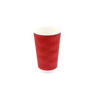 HAPPYPACK 2018 Wholesale Disposable Good Quality Hot Coffee Paper Cup 16oz Ripple Paper Cup