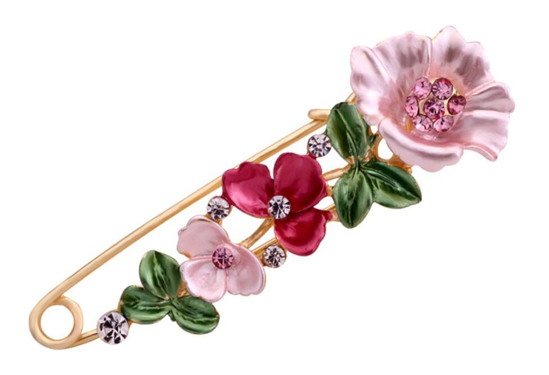 "1PCS 2.96"" ( 7.5cm) Length Metal Flower Safety Decorative Pins Brooch Clip Clasp Trimming Fastener For Clothing Scarves Shawl Buttons Christmas Gift"