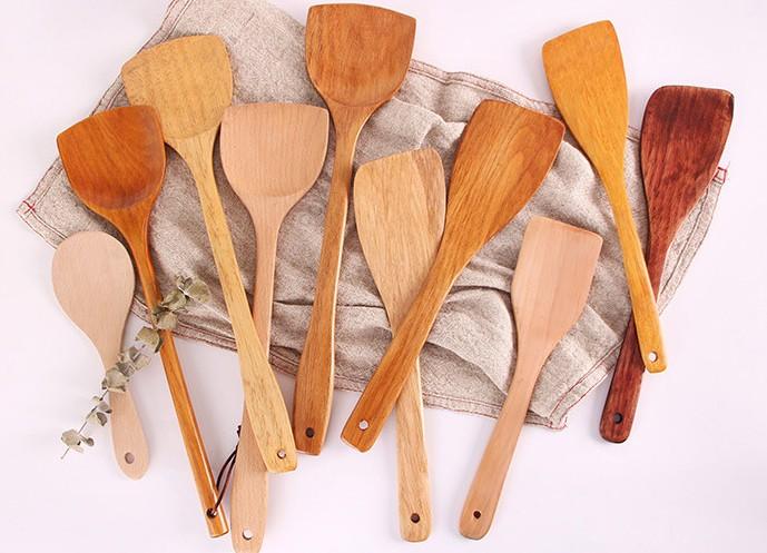 Wholesale Wood Stir Fry Spatula  Non-stick Special Cooking Shovel Long Handle Wooden Hot Pot Spoon Wood kitchen utensil set