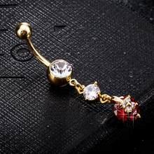3 типа кольцо пупка живота Анти-аллергия Нержавеющая сталь Циркон пирсинг ювелирные изделия(Китай)