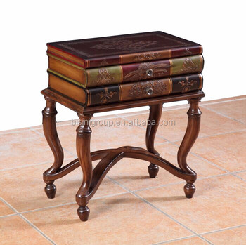 Clic European Old World Style Antique Book Shaped Accent Table Handcrafted Brown Side Made