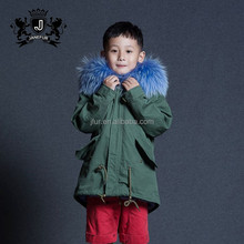 New Winter Kids Coat Hooded Fox Fur Collar Child Fur Parka With Real Faux Rabbit Fur Lining