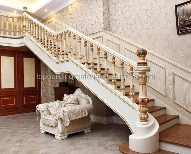 2017 Customized solid oak wood arc stairs stair railing design