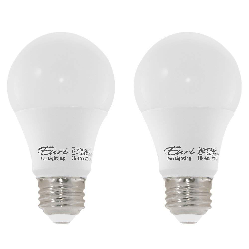 Euri Lighting EA19-4001cec-2 LED A19 Bulb, E-Lite Line, Soft White 3000K, Dim, 6.5W (40W Equivalent) 470 lm, 295 Degree Beam Angle, 90+ CRI, Med. Base (E26) UL, E-Star Listed, CEC (Pack of 2)