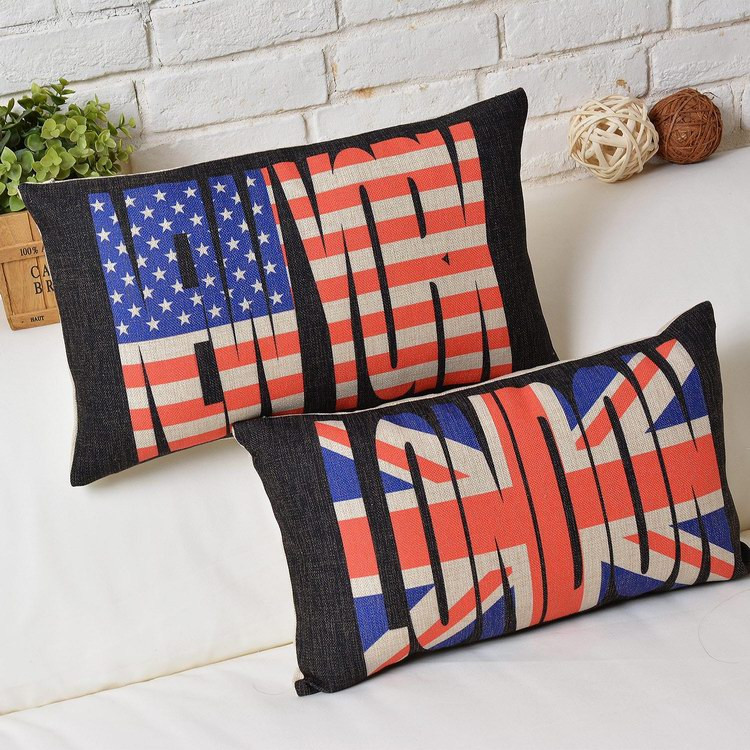 Modern design Decorative Cushion cartoon minimalist Flag Cushions Home Decor creative letters Burlap Cushion free shipping