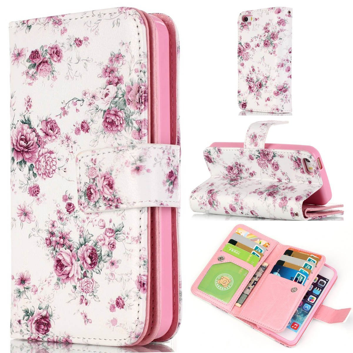 iPhone 6 Case,iPhone 6S Case,Gift_Source [Multi Card Wallet] [Photo card slots] Premium Magnetic PU Leather Wallet with Built-in 9 Card Slots Folio Flip Case For Apple iPhone 6s / 6 [Peony]