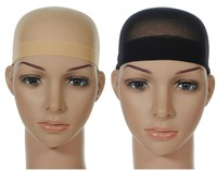 2 PcsNet Wig Cap Breathable Stretchable Nylon Stretch Stocking Cap Nude Beige Black SC5609