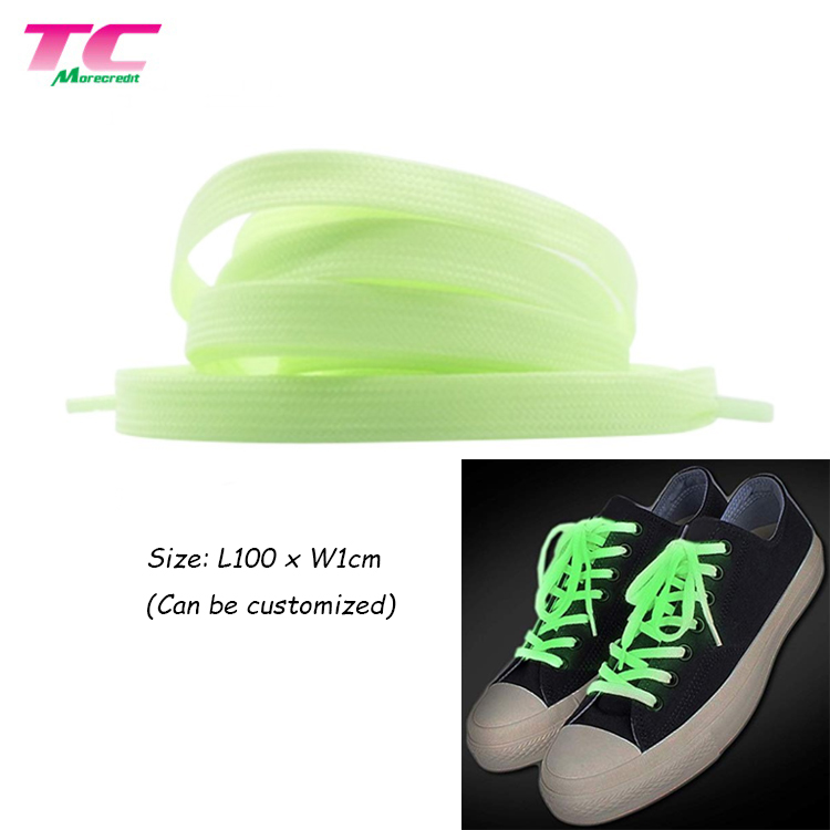 2019 Newest Funny Standard Size 100cm Colored Flat Reflective Shoe String Rope Shoe Laces Accept Customized Logo