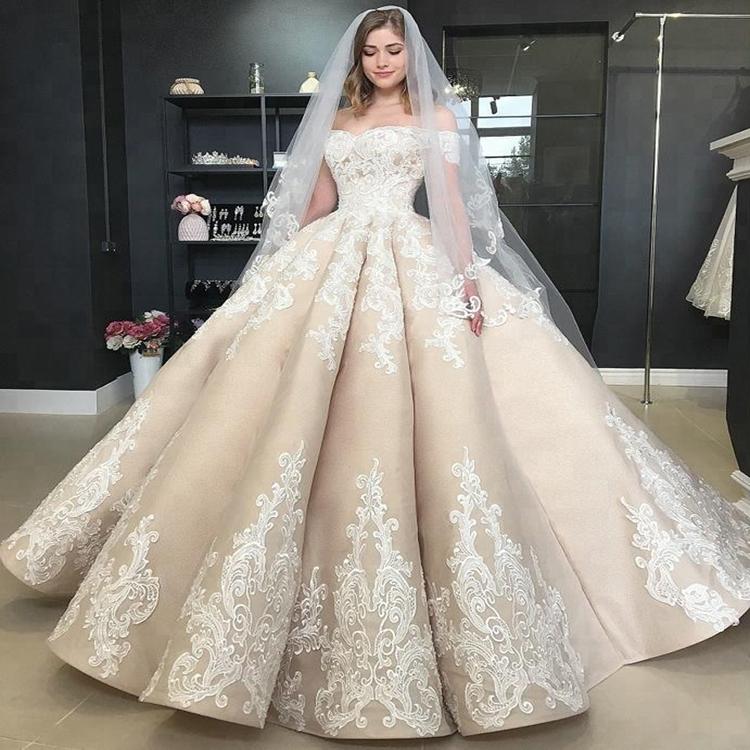 Mewah Champagne Renda Pernikahan Gaun Bola Gown Sweetheart Gaun