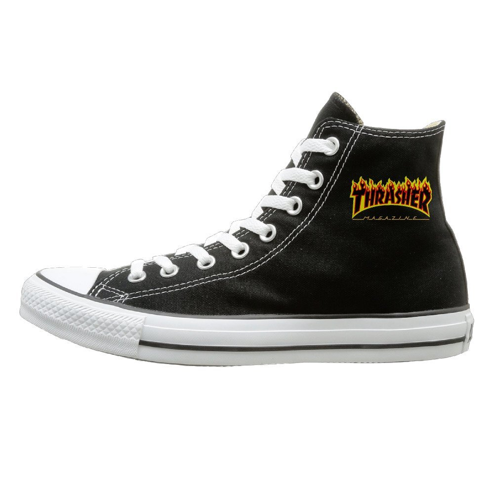 NFCGH Thrasher Magazine Canvas Shoes Sneakers Slip On Shoes Black