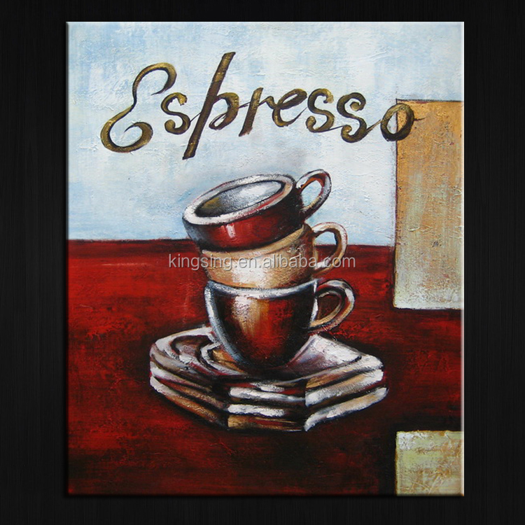 Modern Coffee Shop Decor Abstract Canvas Painting Painted Artwork