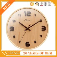 VDING new product natural wooden wall clock and creative japanese household items