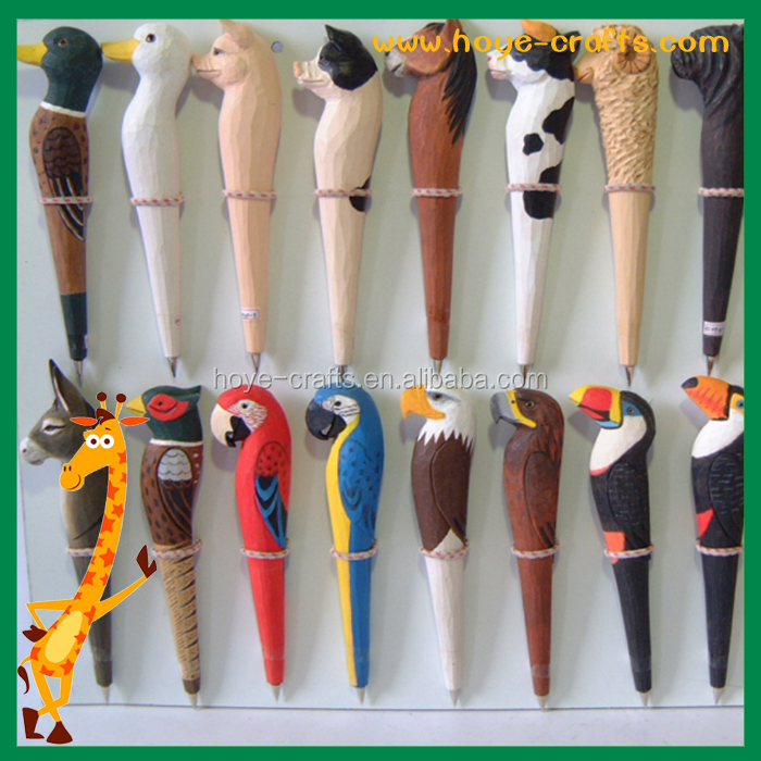 Various styles funny roller ball pens animal toys creative low price animal shape wooden ballpoint pen