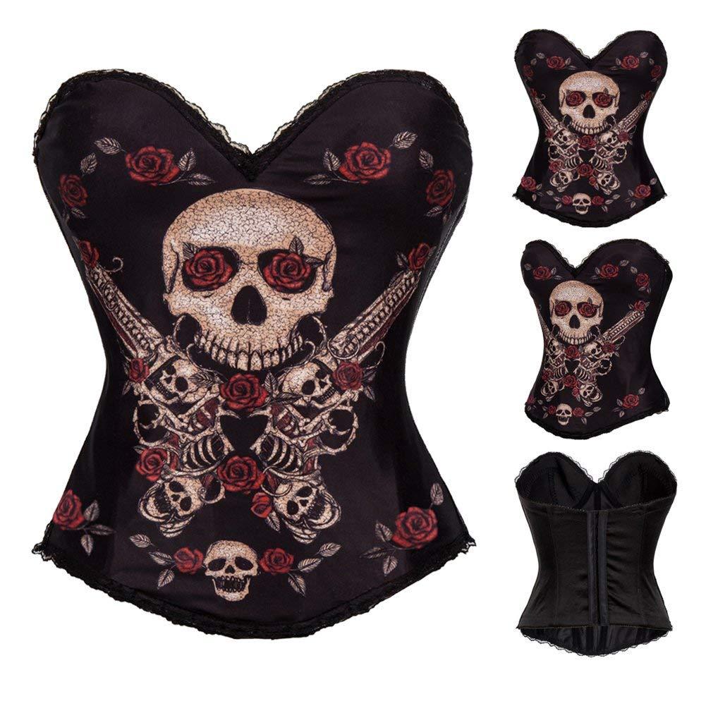 0f12f7594 Get Quotations · Jmung Bodysuit Shapewear Bustiers Corsets Halloween Skull  Crossbones Printing Women s