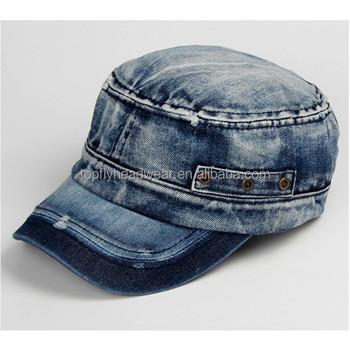 540c6b1f7e9 Wholesale denim military cap custom military caps hats denim flat cap custom  urban caps