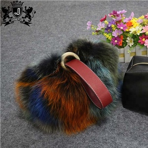 096cab4928 factory on sale modern design cheap price bags women handbags colorful real  fox fur leather handbag