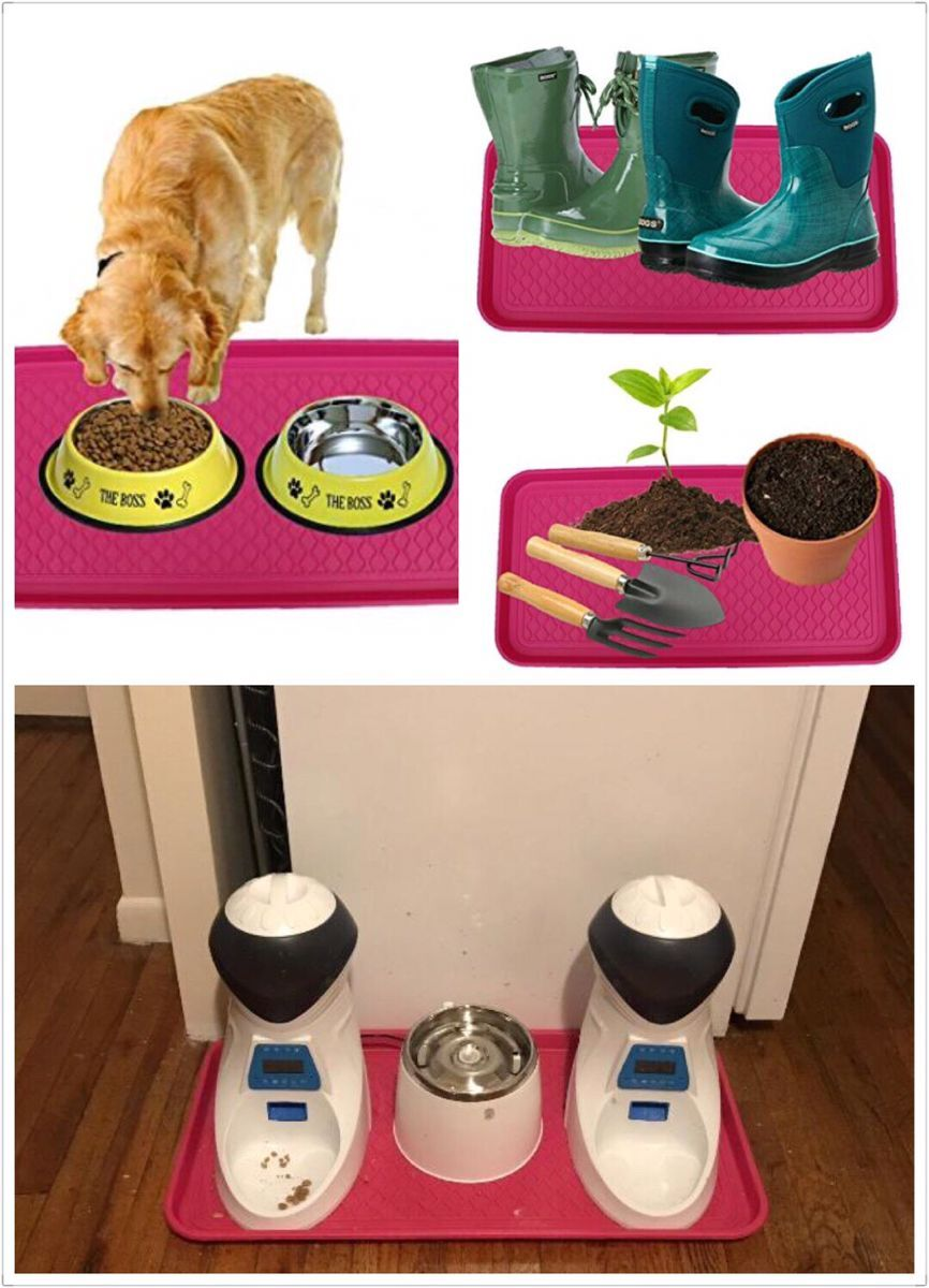 Anti-Slip Multi-Purpose Plastic Boot Tray & Pet Feeding Mat for Boots, Shoes, Paint, Dog Bowls, Cat Litter Box, Gardening