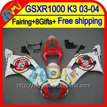 8Gift For SUZUKI GSX R1000 2003 2004 K3 GSX-R1000 Lucky Strike 2HM18 GSXR 1000 K3 03-04 GSXR-1000 GSXR1000 03 04 Red Fairing