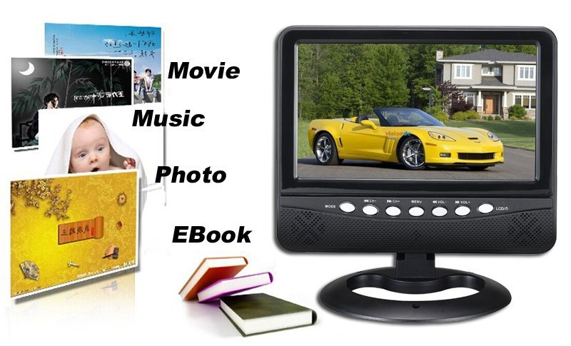 Car Wall Mount Inquire Portable Mini Digital Tv 7inch LCD Monitor With FM Radio