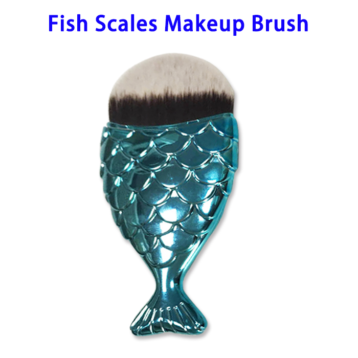 Private Label Mermaid Fish Scales Foundation Powder Makeup Brush