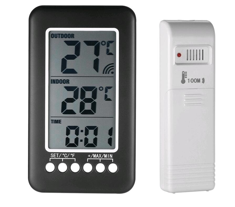 Wireless Thermometer Station Digital Lcd Large Display Indoor Outdoor